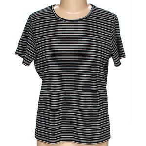 Vintage Metallic Striped Tee 90's Knit T-Shirt L M